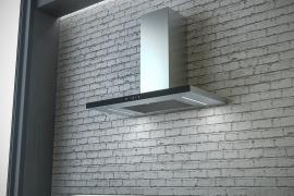 T-kujuline õhupuhastaja seinale L 60cm, must klaaspaneel. SLTC92/60