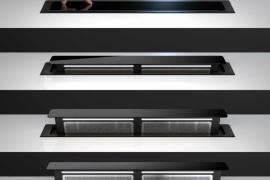 PUSH UP tööpinna seest tõusev õhupuhastaja SDD11, L 81cm (valge, must, roostevabast terasest)