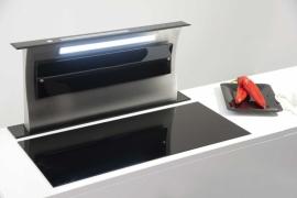 L 88cm musta klaaspaneeliga tööpinna seest tõusev õhupuhastaja valgustusega S-DD4EM/88TCB